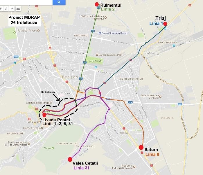 Trasee proiect achizitie troleibuze